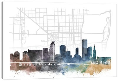 Miami City Skyline City Map Canvas Art Print