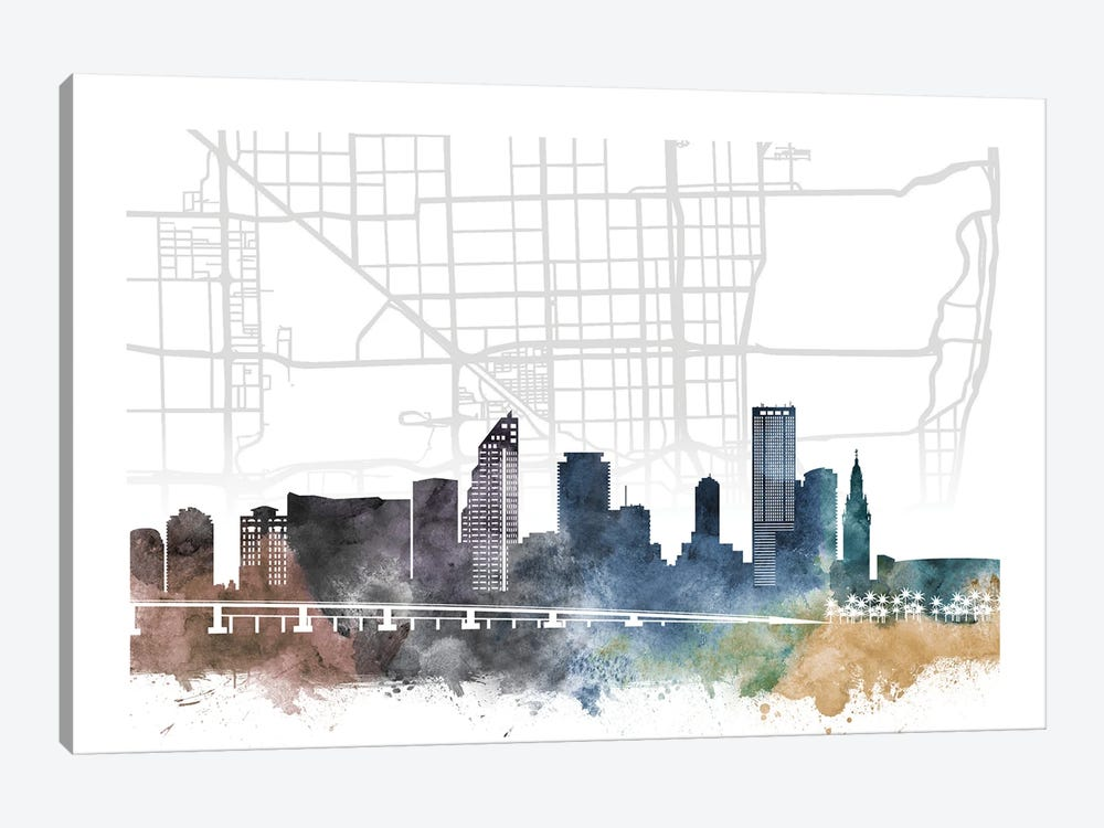 Miami City Skyline City Map by WallDecorAddict 1-piece Art Print