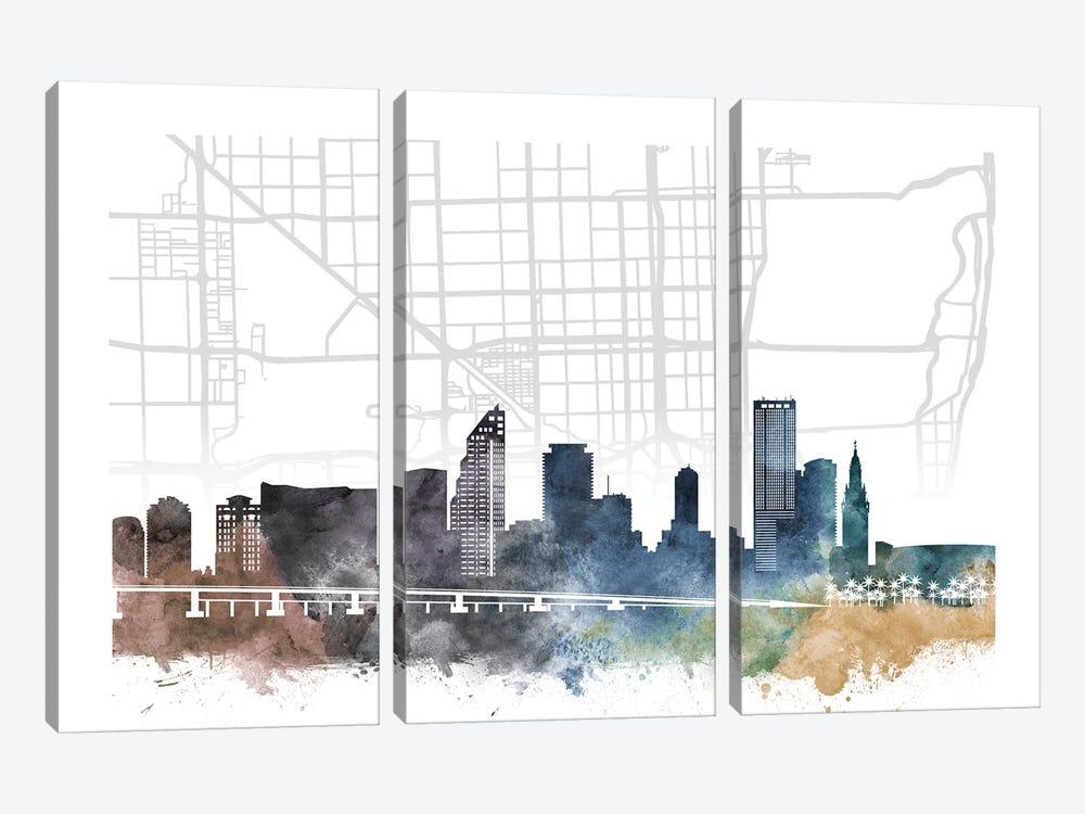 Miami City Skyline City Map by WallDecorAddict 3-piece Art Print