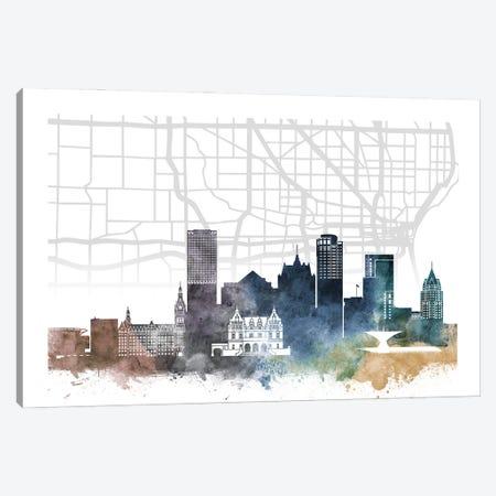 Milwaukee Skyline City Map Canvas Print #WDA2254} by WallDecorAddict Canvas Wall Art