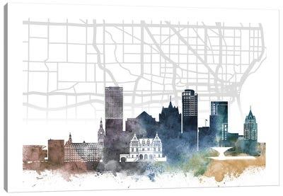 Milwaukee Skyline City Map Canvas Art Print