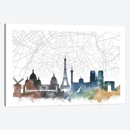 Paris Skyline City Map Canvas Print #WDA2256} by WallDecorAddict Canvas Artwork