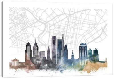 Philadelphia Skyline City Map Canvas Art Print