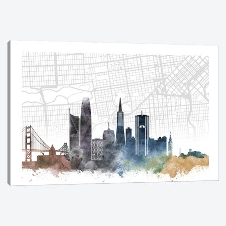San Francisco Skyline City Map Canvas Print #WDA2259} by WallDecorAddict Canvas Print