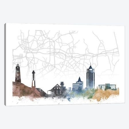 Virginia Beach Skyline City Map Canvas Print #WDA2260} by WallDecorAddict Canvas Wall Art