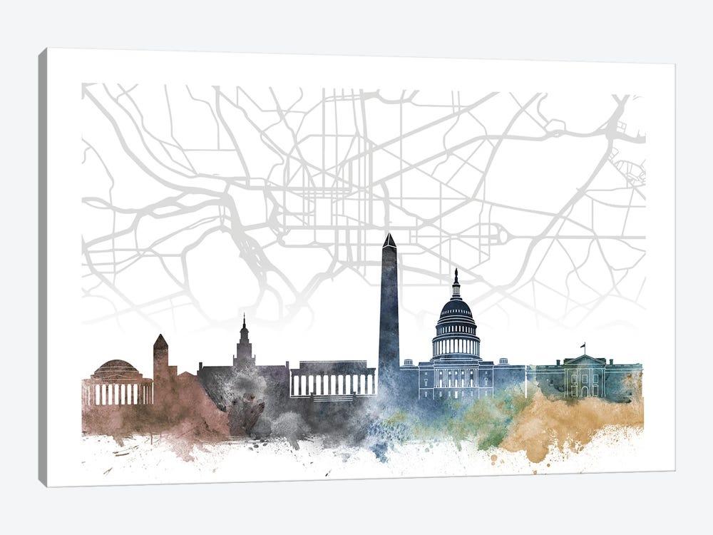 Washington Skyline City Map by WallDecorAddict 1-piece Canvas Art