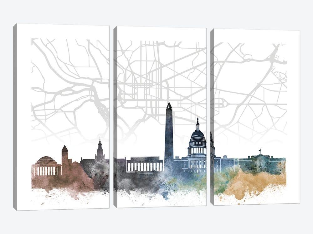 Washington Skyline City Map by WallDecorAddict 3-piece Canvas Wall Art