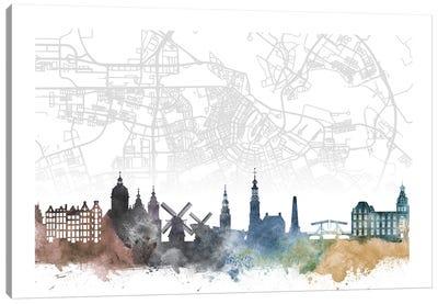 Amsterdam Skyline City Map Canvas Art Print