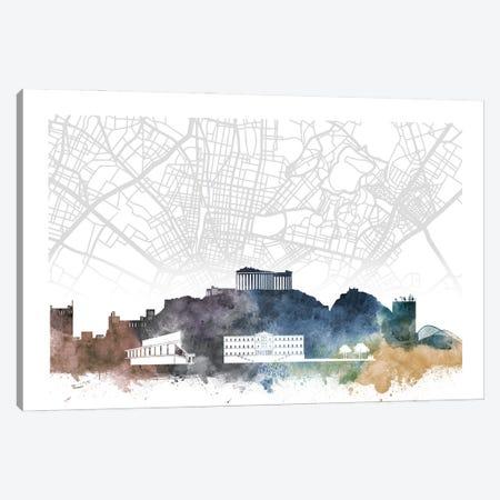 Athens Skyline City Map Canvas Print #WDA2263} by WallDecorAddict Canvas Art