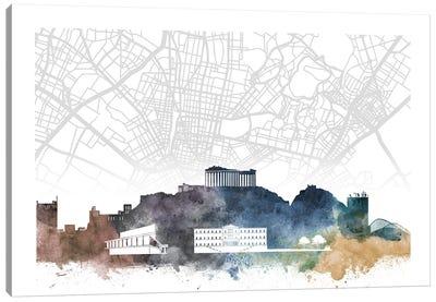 Athens Skyline City Map Canvas Art Print