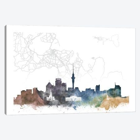 Auckland Skyline City Map Canvas Print #WDA2264} by WallDecorAddict Art Print