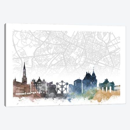 Brussels Skyline City Map Canvas Print #WDA2268} by WallDecorAddict Canvas Wall Art