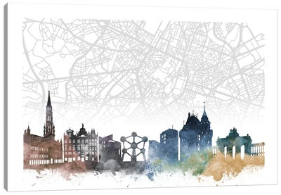 Brussels Skyline City Map Canvas Art Print