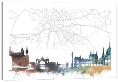 Budapest Skyline City Map Canvas Art Print