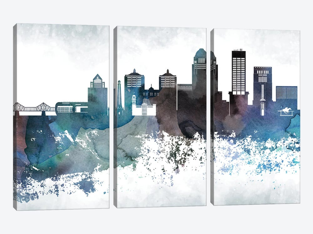 Louisville Bluish Skylines by WallDecorAddict 3-piece Canvas Art