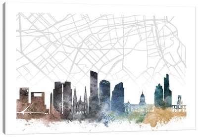 Buenos Aires Skyline City Map Canvas Art Print