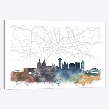Cologne Skyline City Map Canvas Print #WDA2274} by WallDecorAddict Canvas Artwork