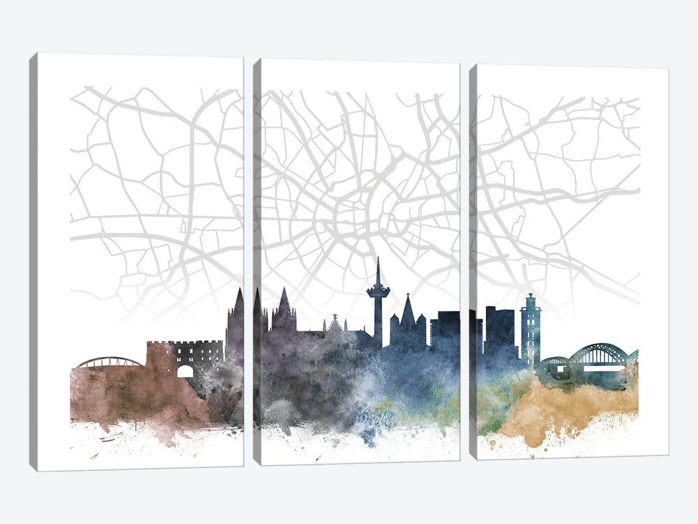 Cologne Skyline City Map by WallDecorAddict 3-piece Canvas Art