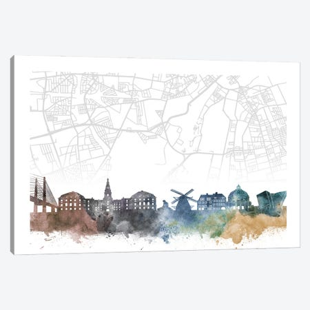 Copenhagen Skyline City Map Canvas Print #WDA2275} by WallDecorAddict Canvas Wall Art