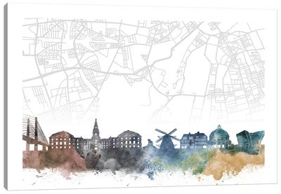 Copenhagen Skyline City Map Canvas Art Print