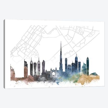 Dubai Skyline City Map Canvas Print #WDA2277} by WallDecorAddict Canvas Artwork