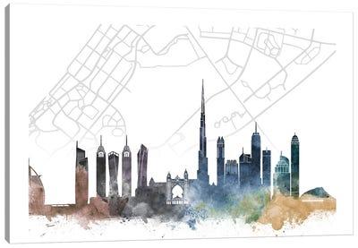 Dubai Skyline City Map Canvas Art Print