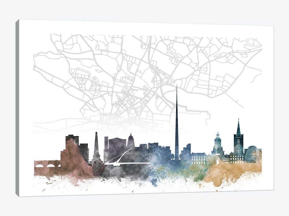 Dublin Skyline City Map by WallDecorAddict 1-piece Canvas Artwork