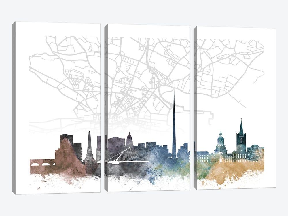 Dublin Skyline City Map by WallDecorAddict 3-piece Canvas Artwork