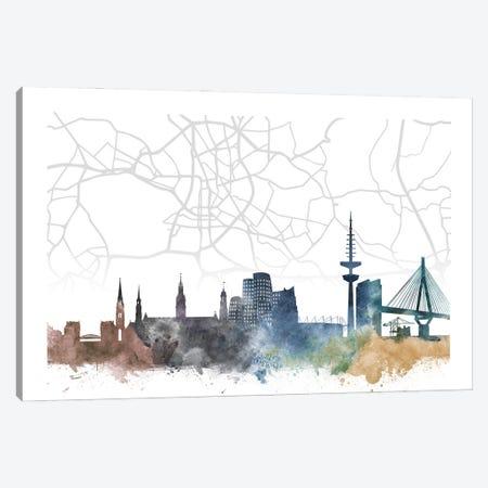 Dusseldorf Skyline City Map Canvas Print #WDA2279} by WallDecorAddict Canvas Art Print