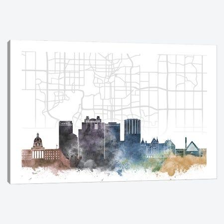 Edmonton Skyline City Map Canvas Print #WDA2281} by WallDecorAddict Canvas Wall Art