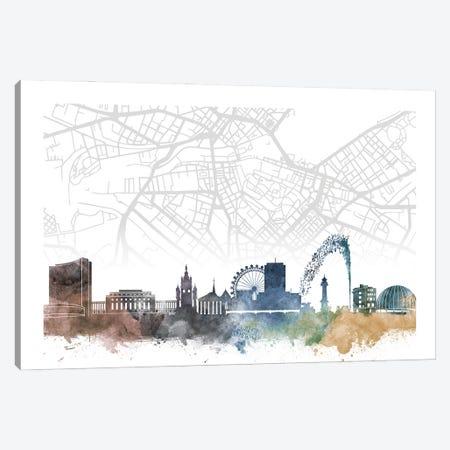 Geneva Skyline City Map Canvas Print #WDA2283} by WallDecorAddict Canvas Wall Art