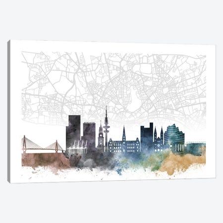Hamburg Skyline City Map Canvas Print #WDA2285} by WallDecorAddict Art Print
