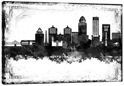 Louisville Black And White Framed Skylines Canvas Art Print