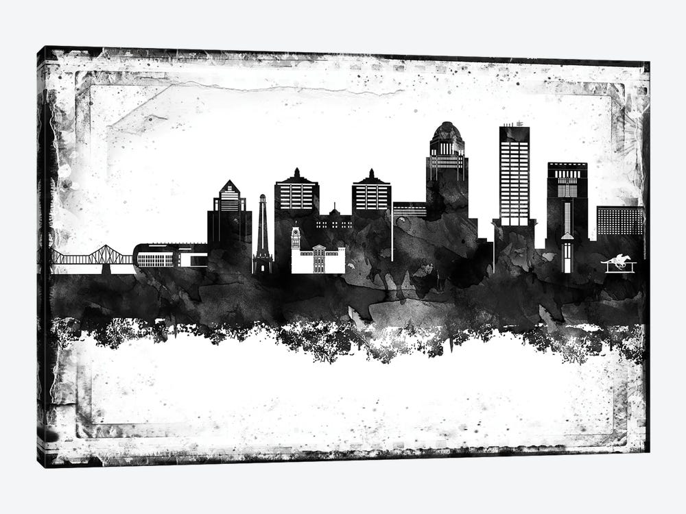 Louisville Black And White Framed Skylines by WallDecorAddict 1-piece Canvas Wall Art