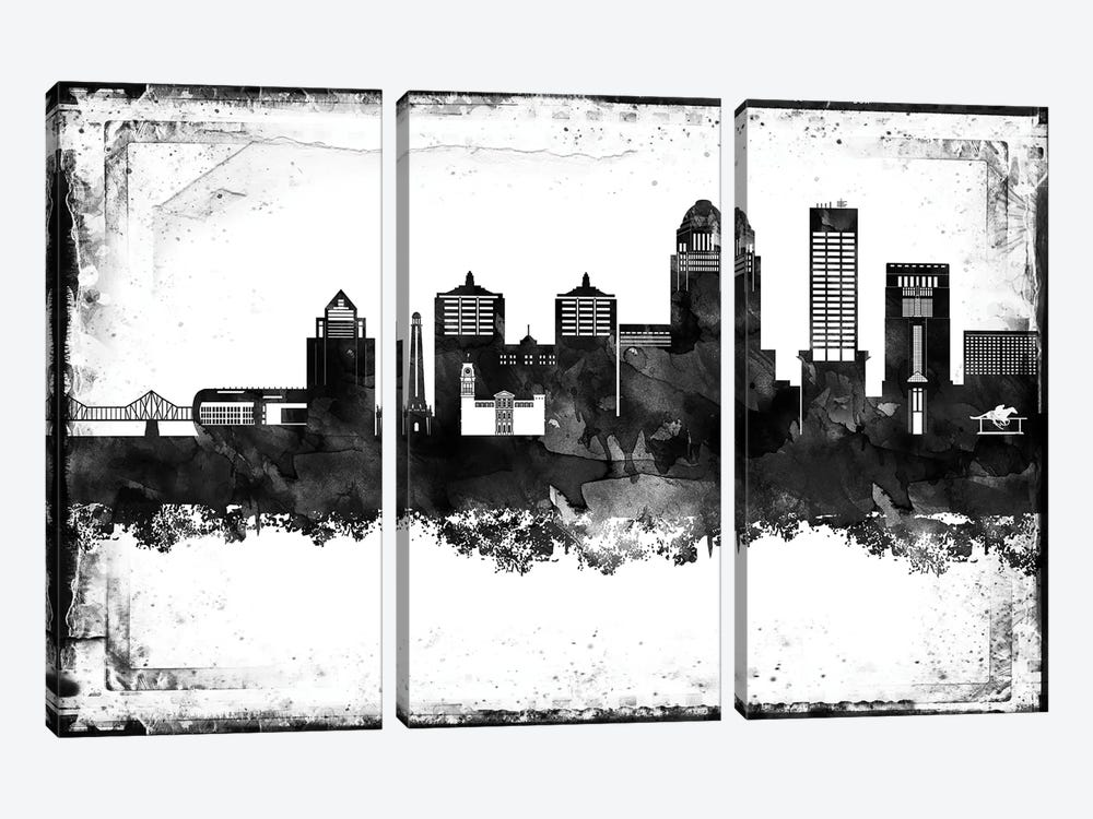Louisville Black And White Framed Skylines by WallDecorAddict 3-piece Canvas Wall Art