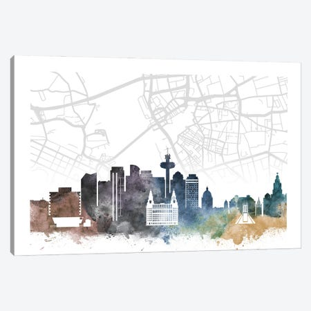 Liverpool Skyline City Map Canvas Print #WDA2291} by WallDecorAddict Art Print