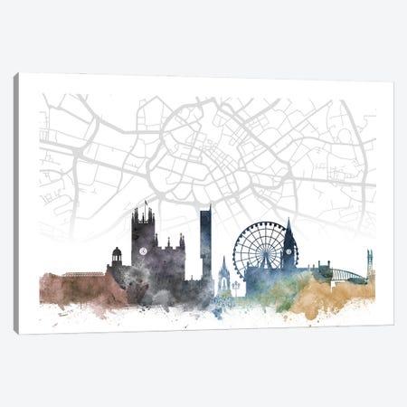 Manchester Skyline City Map Canvas Print #WDA2293} by WallDecorAddict Canvas Print