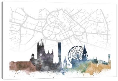 Manchester Skyline City Map Canvas Art Print