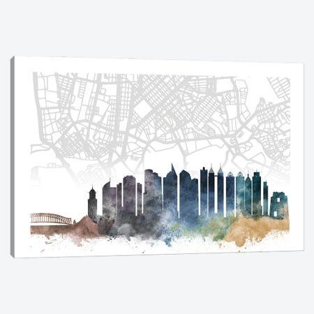 Manila Skyline City Map Canvas Print #WDA2294} by WallDecorAddict Canvas Artwork