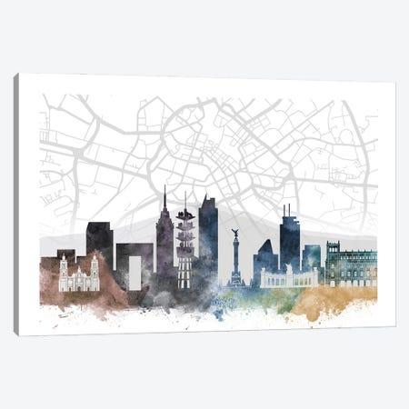 Mexico City Skyline City Map Canvas Print #WDA2295} by WallDecorAddict Canvas Art
