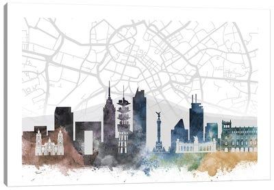 Mexico City Skyline City Map Canvas Art Print