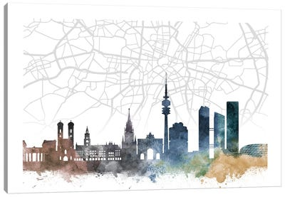 Munich Skyline City Map Canvas Art Print