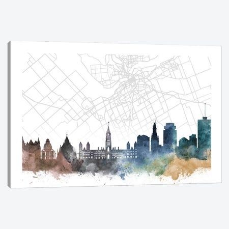 Ottawa Skyline City Map Canvas Print #WDA2302} by WallDecorAddict Canvas Print