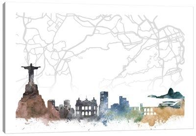 Rio De Janeiro Skyline City Map Canvas Art Print