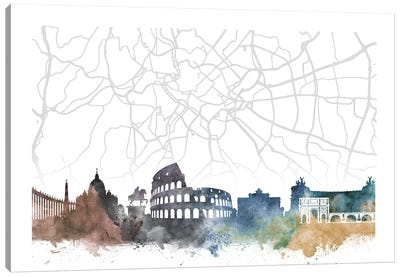 Rome Skyline City Map Canvas Art Print