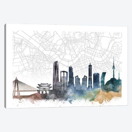 Seoul Skyline City Map Canvas Print #WDA2307} by WallDecorAddict Canvas Wall Art