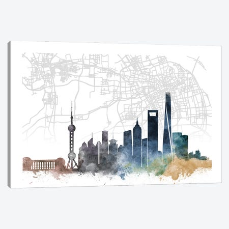 Shanghai Skyline City Map Canvas Print #WDA2308} by WallDecorAddict Canvas Art Print