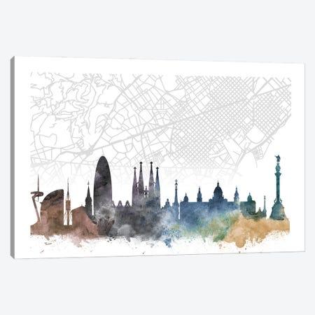 Barcelona Skyline City Map Canvas Print #WDA2309} by WallDecorAddict Art Print