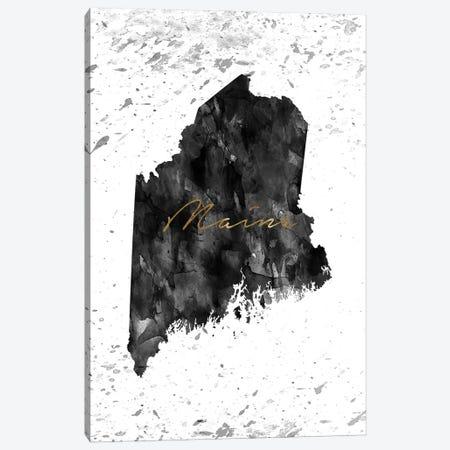 Maine Black And White Gold Canvas Print #WDA230} by WallDecorAddict Canvas Art