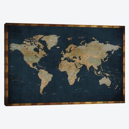 World Map Vintage Style Canvas Print #WDA2310} by WallDecorAddict Canvas Art